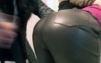 Spank in leather pants join