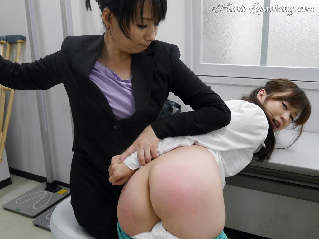 Asian schoolgirl panty spanking